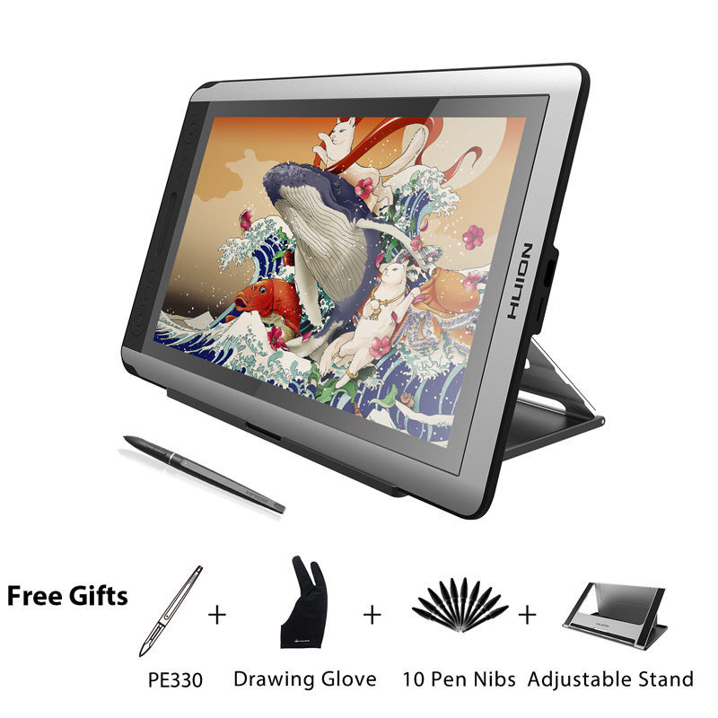 HUION KAMVAS GT-156HD V2 Pen Display Monitor 15.6 inch Digital Graphics Drawing Tablet Monitor with 8192 Levels and Free Gifts new huion gt 185 pen display tablet monitor graphics monitor digital drawing lcd monitors with gift free shipping