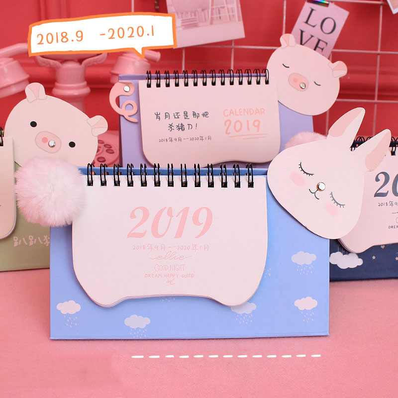 2019 Year New Pig DIY Cartoon Mini Desktop Paper Calendar Daily Scheduler Table Planner Yearly Agenda Organizer Notebook
