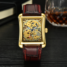 MCE Fashion Brand Lover s Mechanical Watch Hand Wind Skeleton Gold Watch For Lover Leather Strap