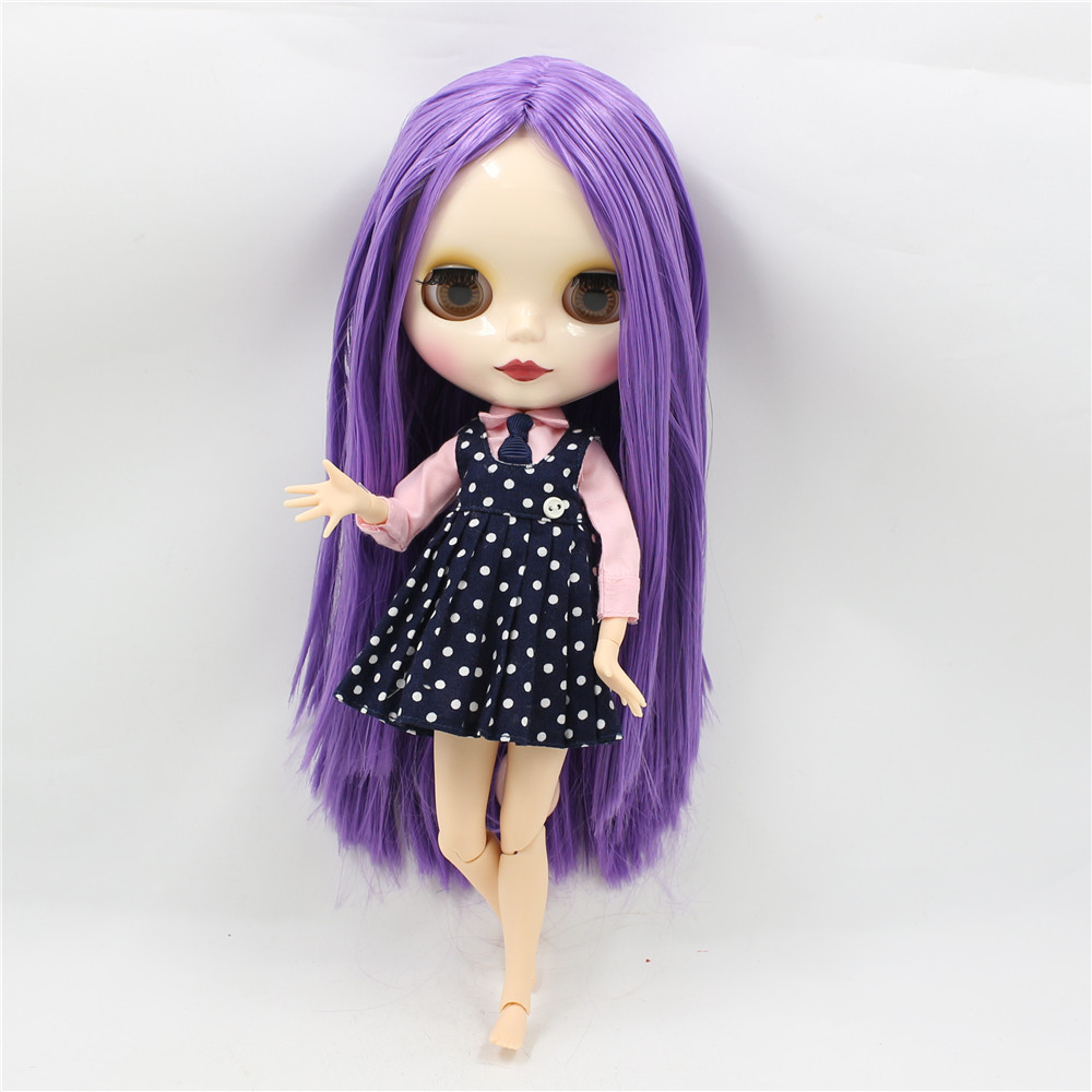Neo Blythe Doll with Purple Hair, White Skin, Shiny Face & Jointed Body 1