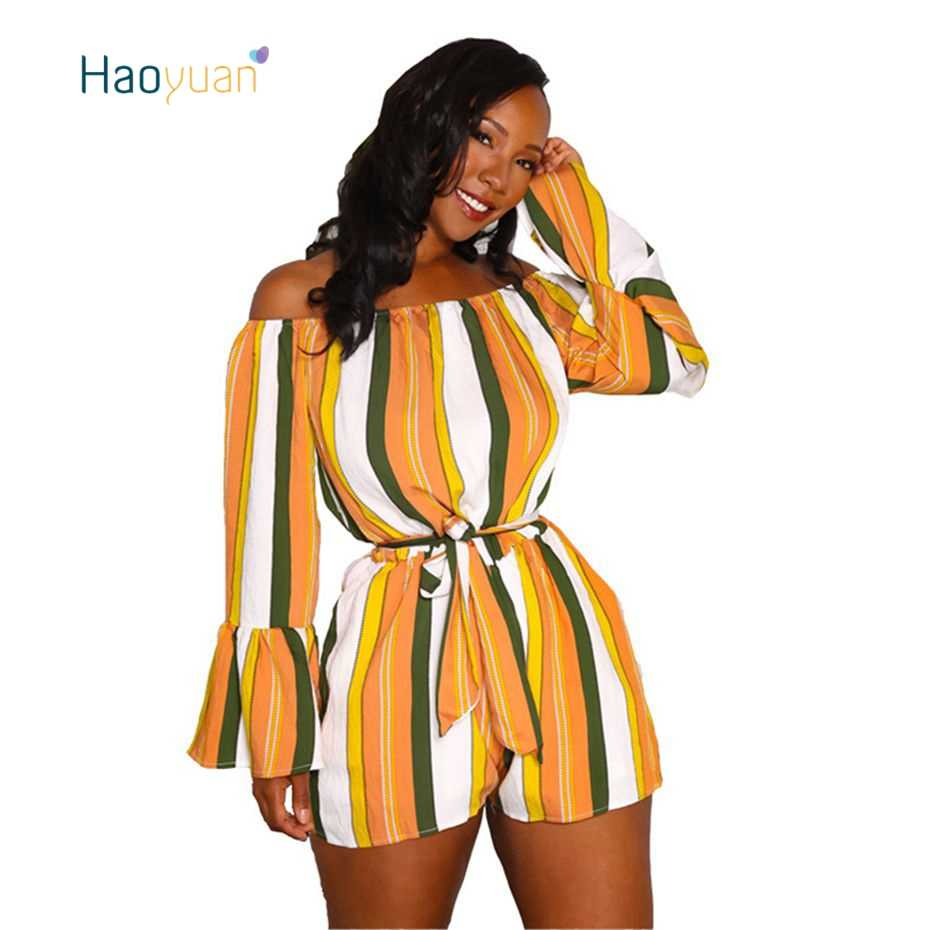 HAOYUAN Sexy Rompers Womens Playsuits Summer 2018 New Overalls Bell Sleeve  Slash Neck One Piece Striped 76c7e45bcd34