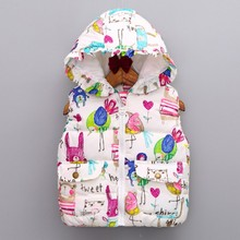 Kids Girls Winter Cartoon Animal Jackets Hooded Graffiti Parkas Outerwear Coats