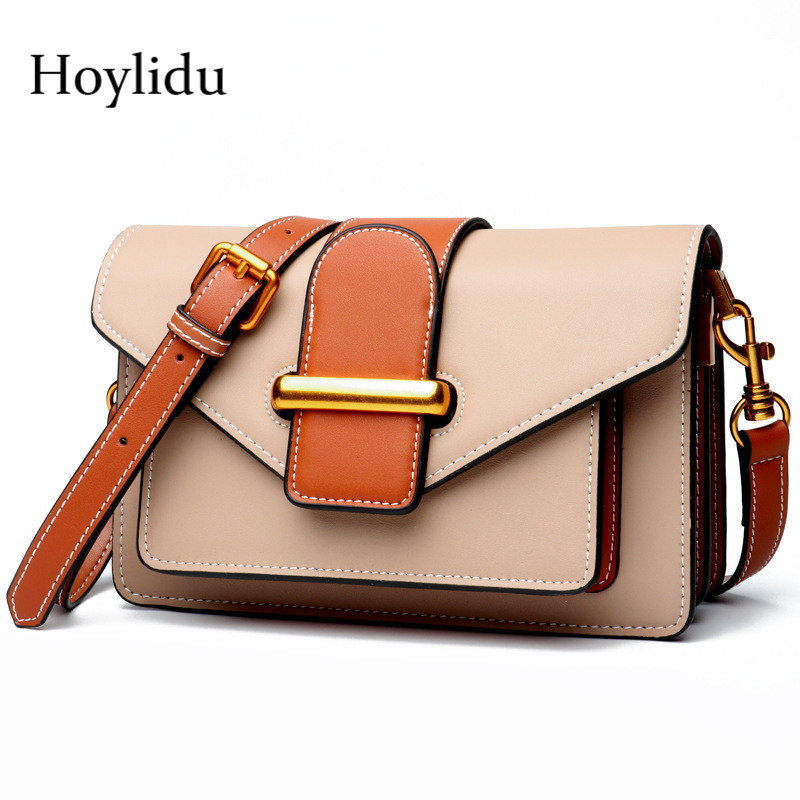 Genuine Leather Women Shoulder Bags Fashion Vintage Panelled Adjustable  Strap Messenger Mini Flap Handbags Lady Crossbody 5241886287795