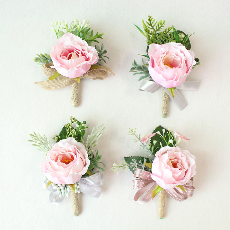 pink roses silk corsages boutonnieres groom wedding corsage for men  (1)