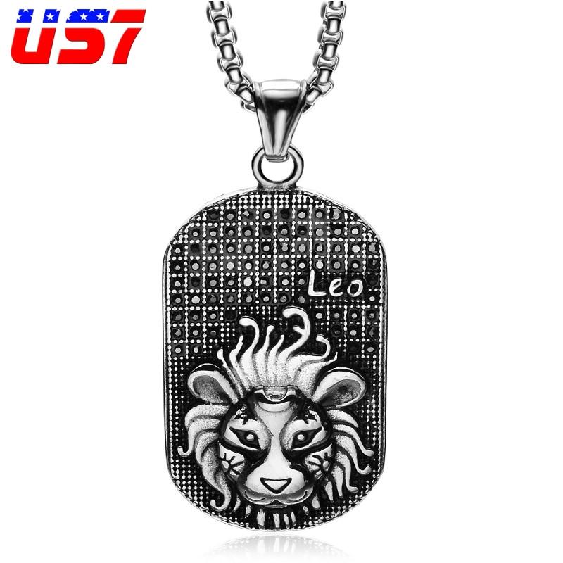 US7 Punk 12 Zodiac Sign Men Lion Leo Charm Necklaces & Pendants Soild Casting Stainless Steel Dog Tags Necklace for Men Jewelry
