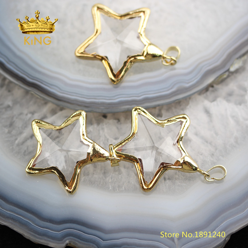 Image 2 - 10PCS Star Shaped Bezel Glass Pendants Crafts Earrings,35mm Faceted Clear Glass Plated Gold Edged Charms Necklace Wholesale YT30-in Pendants from Jewelry & Accessories