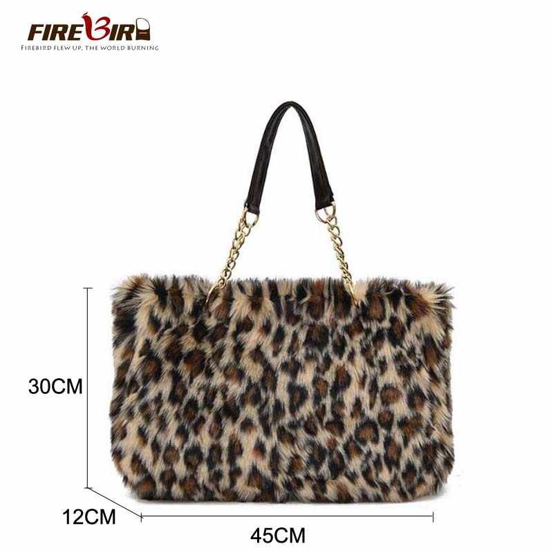 cc455aa310 ... Winter Faux Fur Handbag Women Shoulder Bags Large Capacity Casual Tote Bag  Fashion Leopard Handbag chain