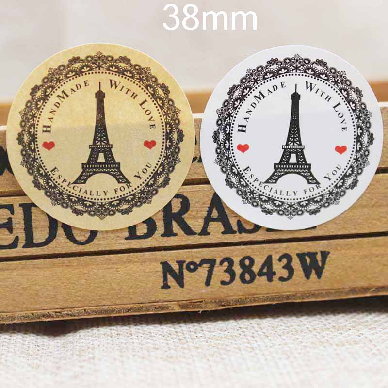 100pcs EIFFEL TOWER Printed Especially For You Sticker Label Kraft/white Handmade Tag Label 38mm Size