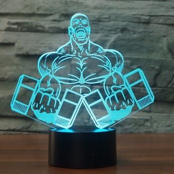 Lámpara de mesa con forma de mancuerna 3D para dormitorio, luz LED...