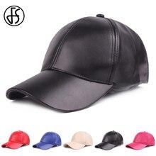 FS primavera PU tapa de cuero negro rojo blanco gorras de béisbol Unisex  Snapback sombrero de los hombres de las mujeres de Golf. 75ebe7690fb