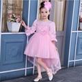 2017 NOVA Irregular Elegante Crianças Vestido Da Menina Do Laço de Casamento Vestido De Cauda Longa Primavera Outono Meninas Princesa Vestido Para 3-13 T