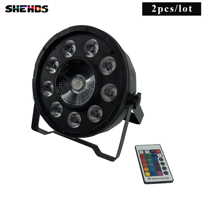 2 stk Trådløs fjernkontroll LED Par 9x10W + 30W 3IN1 RGB LED Stage Light LED Flat SlimPar Tri Can With DMX512 Flat DJ