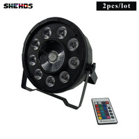 Venta 2 piezas de Control remoto inalámbrico LED Par 9x10W + 30W 3IN1 RGB LED etapa luz LED plana SlimPar Tri con DMX512 de DJ