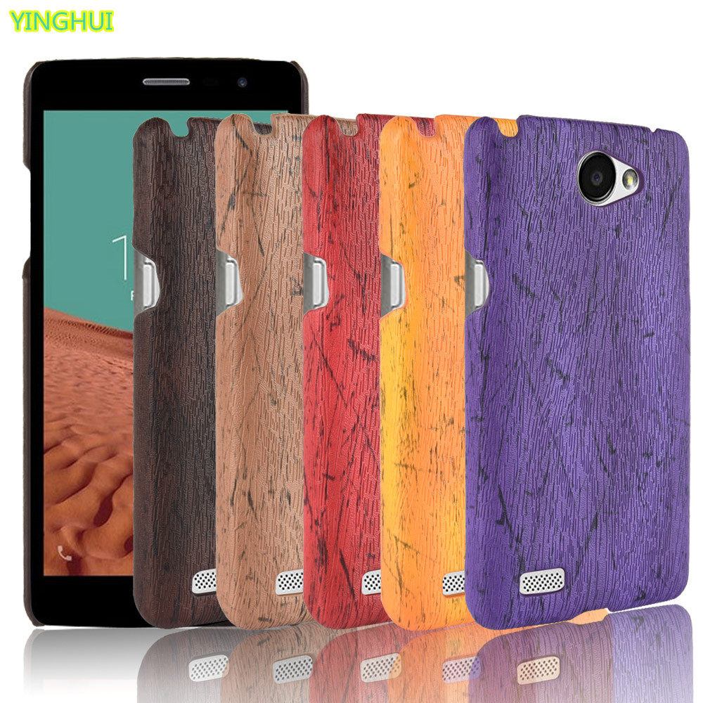 For <font><b>LG</b></font> <font><b>Max</b></font> <font><b>X155</b></font> Case Hard PC Leather Retro wood grain Phone Case For <font><b>LG</b></font> Bello 2 II / Prime II Case Back Cover image