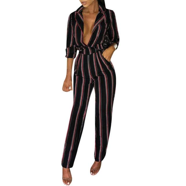 Women Stripe Long Sleeve Playsuit Clubwear Straight Leg Party Jumpsuit Pants Women High Waist Plaid Striped Loose Palazzo Pants
