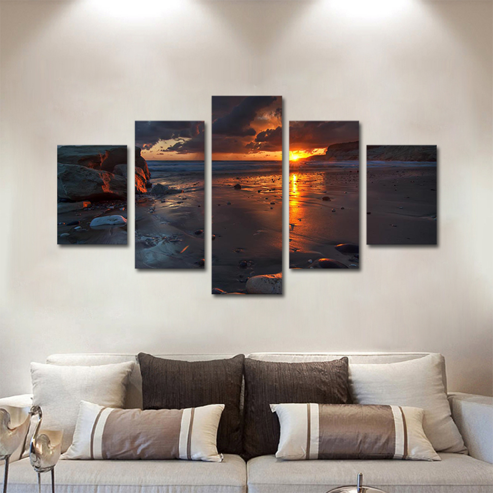 Unframed Canvas Painting Sunset Clouds Beach Reef Photo Picture Prints Wall Picture For Living Room Wall Art Decoration