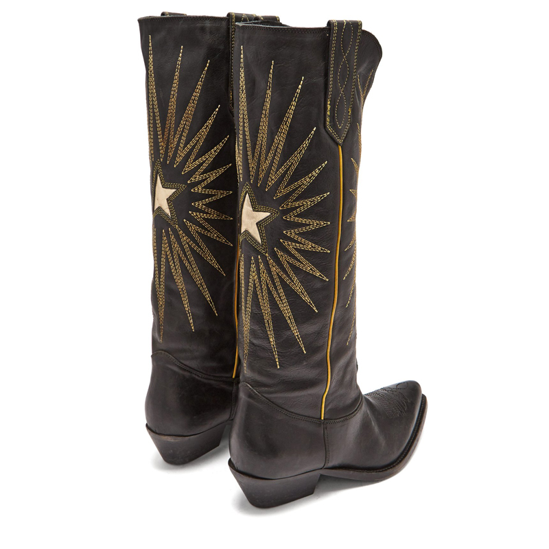Knsvvli new style genuine leather electric embroidery knee high boots woman brown black pointy toe women cowboy long booties