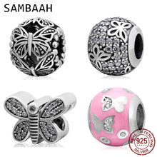 Sambaah Sparkling Flutter Butterfly Charms 925 Sterling Silver Flying Beads for Original Pandora Spring Chain Bracelet