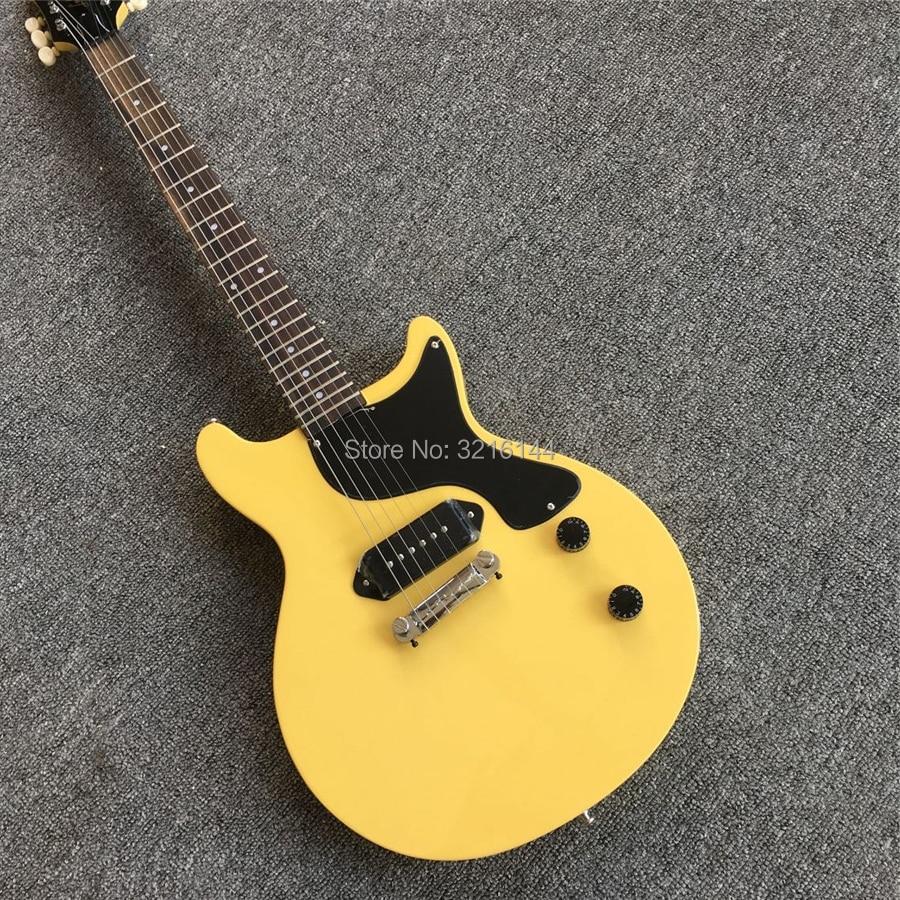 Guitare électrique jaune lait, nouveaux produits, vente en gros et au détail en usine, vraies photos, ramassage noir P90