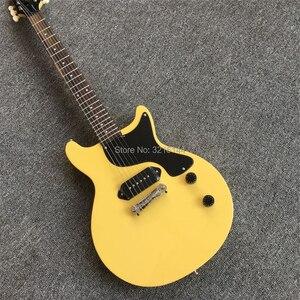 Guitarra eléctrica amarilla de leche, nuevos productos, venta al por mayor y al por menor de fábrica, fotos reales, pastilla P90 negra