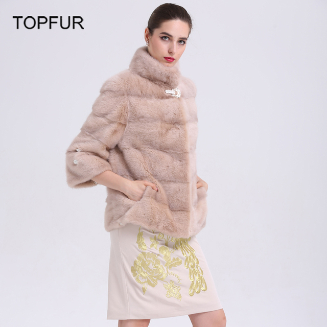 d04cc02ba TOPFUR Women Fashion Genuine Leather 100% Real Mink Fur Coat Mandarin  Collar Winter Overcoat Hot Sell Mink Short Coat BF C0043-in Fur & Faux Fur  from ...