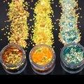 1 Коробка 10 мл 2 мм Бриллиант Желтый Зеленый Ногтей Блеск Порошок Шестиугольник Круглый Порошок Листов Пыли Советы Nail Art украшения