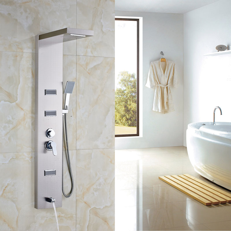 Brushed Nickel Wall Mount Shower Column Three Functions Body Message ...