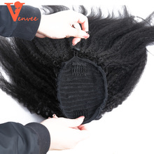 Brazilian Kinky Straight Hair Ponytail Extensions 100% Coarse Yaki Human Hair Ponytail Clip Ins Virgin Real Hair Salon