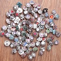 10pcs/lot Mix snap button charm High quality 12mm Metal Snap Button Charm Rhinestone Styles Button Ginger Snaps Jewelry NA12-020