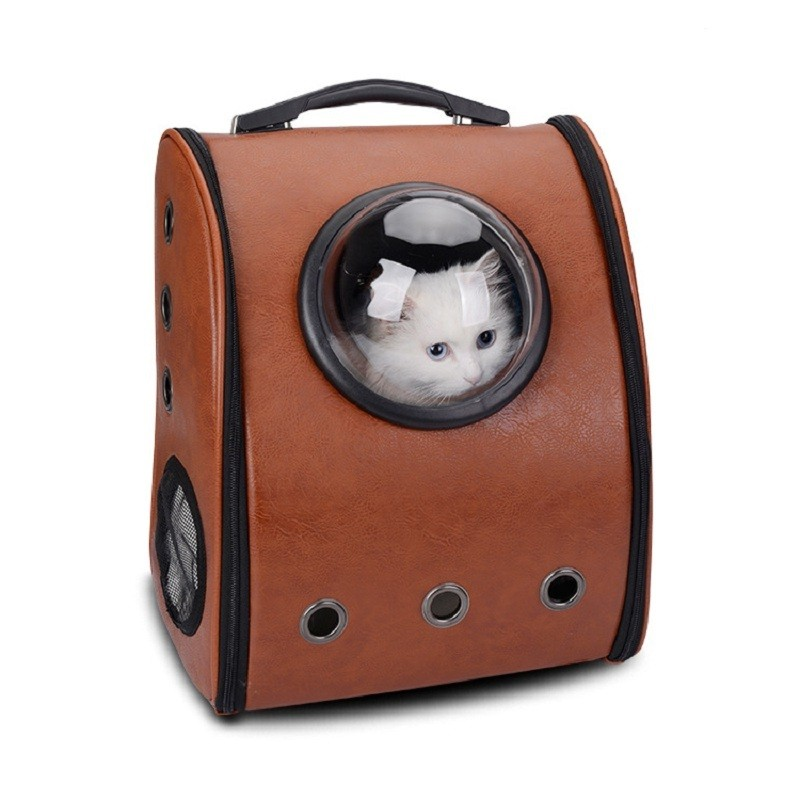Leather Pet Cat Backpack Carrier Dog Cats Crate Breathable Portable Outdoor Travel Air Space Bags (4)