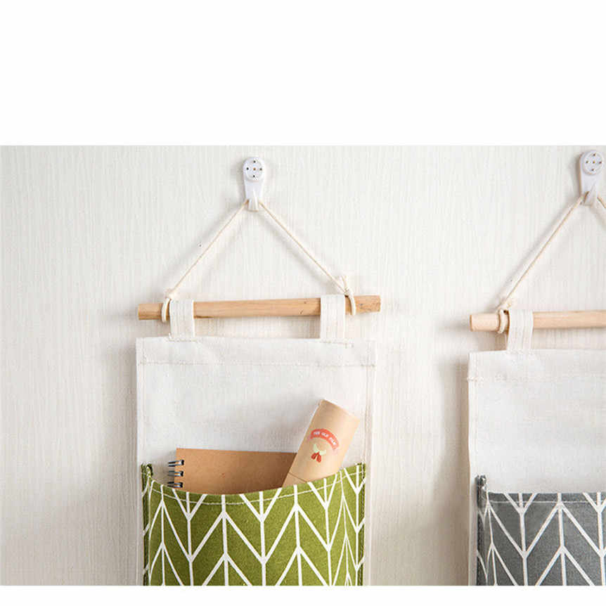 3 Pockets Wall Mounted Hanging Storage Bag Organizer Toys Container Hang Bag Wall Pouch Cosmetic Toys Organizer 0423#