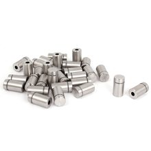 ABKM Hot 30 Pieces 12 X 22Mm Stainless Steel Spacer Glass Holder Sign Mounting Silver