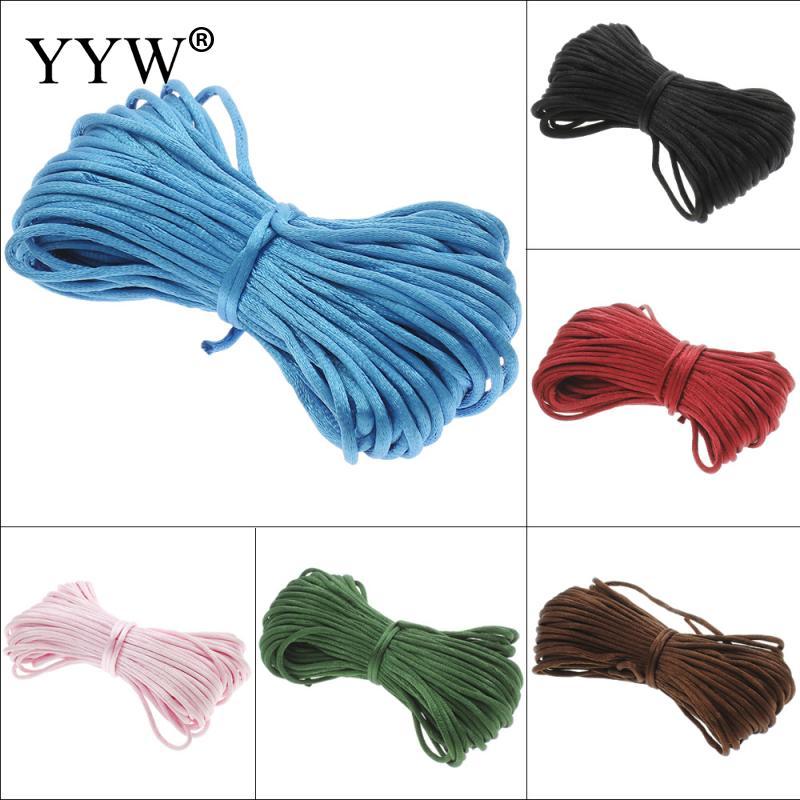 Yyw 3mm 20 m Longitud colorido diseñador de la joyería al por mayor cuerda de nylon chino knotting seda rebordear cuerda trenzada Hilos DIY