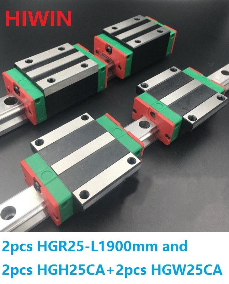 2pcs 100% original Hiwin linear guide HGR25 -L 1900mm + 2pcs HGH25CA and 2pcs HGW25CA/HGW25CC block CNC router 2pcs 100