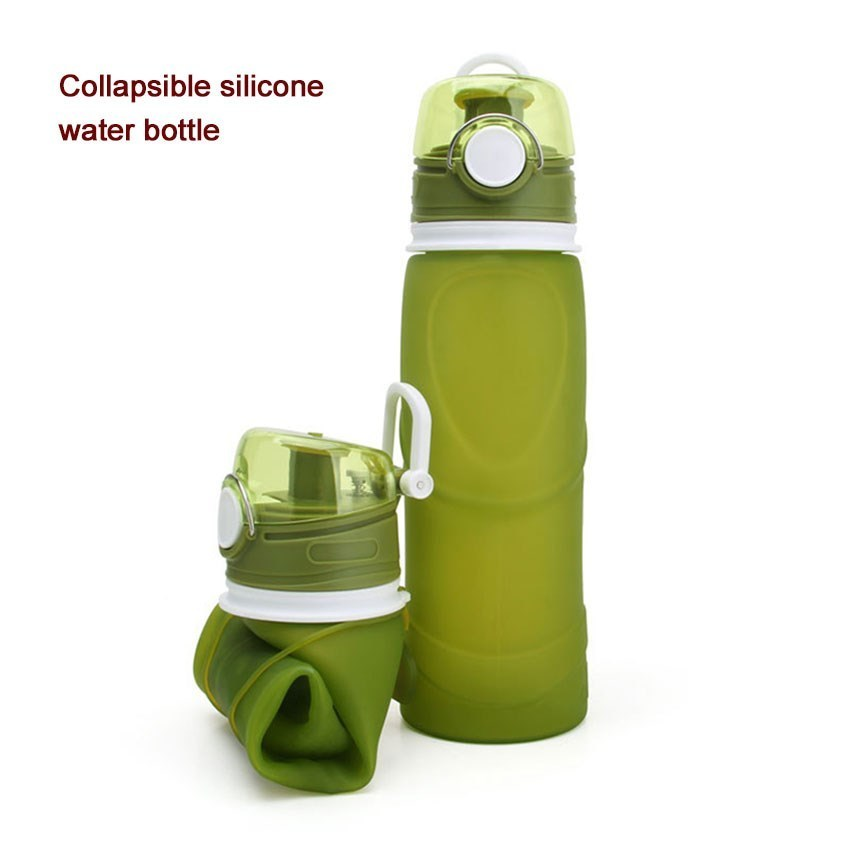 500ML-750ML Collapsible Silicone Water Bottle Sports Travel Portable Outdoor Sport Bottles Camping Running