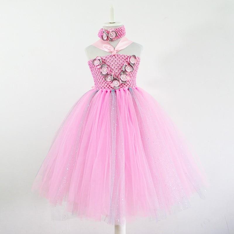 9fa9aa243 YEWUDIER Pink Mix Grey Baby Girls Tutu Dress With Headband Wedding Flower  Girl Tulle Dresses Handmade Birthday Party Photography