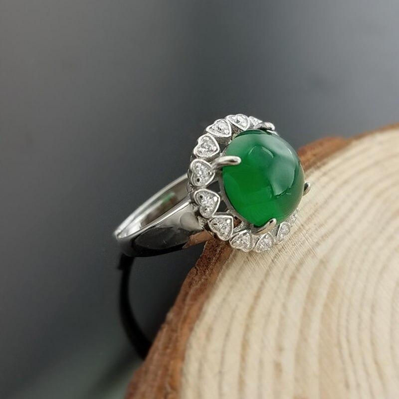 Элегантный естественный зеленый камень оникс чистого серебра 925 Кольца для Для женщин реальный камень манжеты Группа 100% изделия стерлингов...