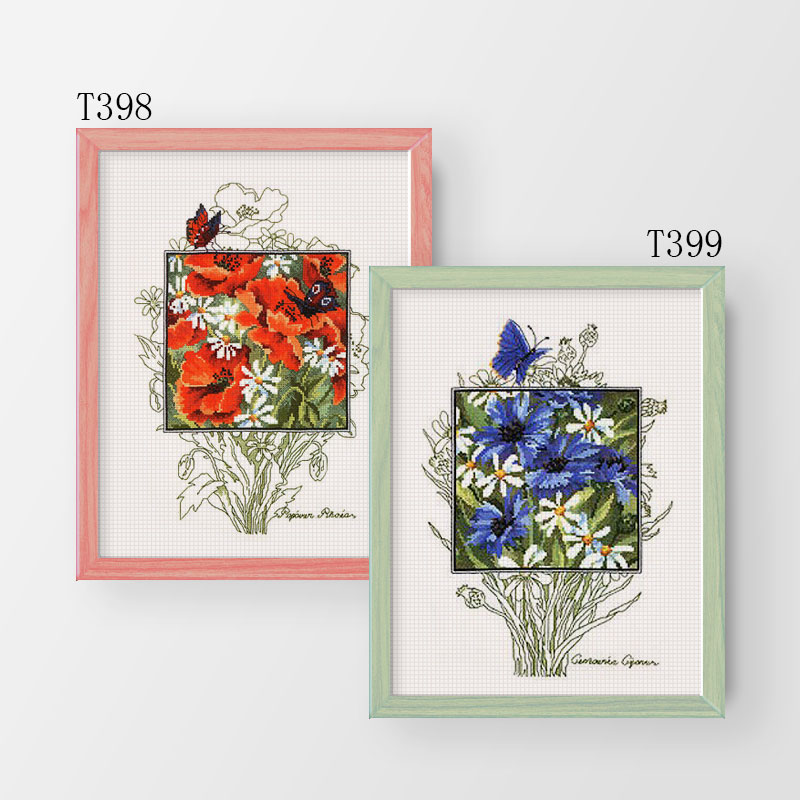 Fishxx Cross Stitch Kit T398-399 Plant Flowers Two Poppy And Blue Cornflower Hand Embroidery