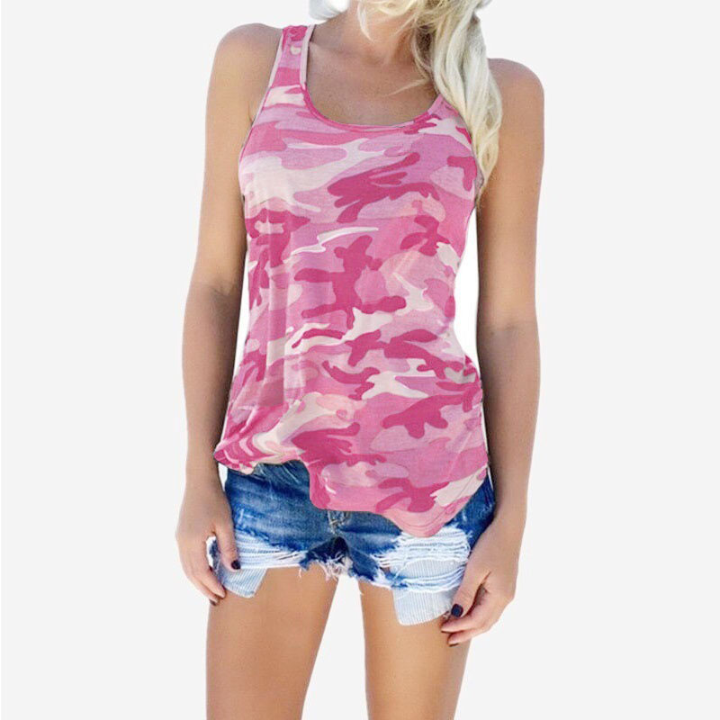 Womens Camouflage Hunting Vests Casual T Shirt Summer Camo Cami Sleeveless Tanks Top Vest Short  Running Fitness Yoga Clothes (9)