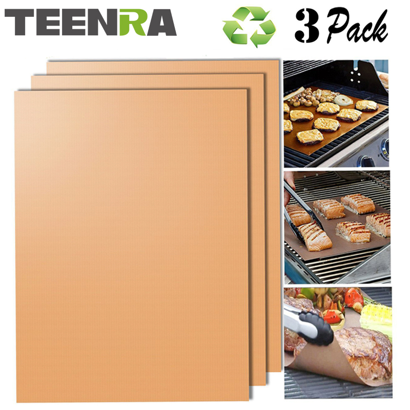 TEENRA 3Pcs Gold Resuable Teflon BBQ Mat Baking Grill Mat Heat-resistant Baking Mat Non-stick BBQ Liner Teflon Baking Sheet copper grill mats south africa