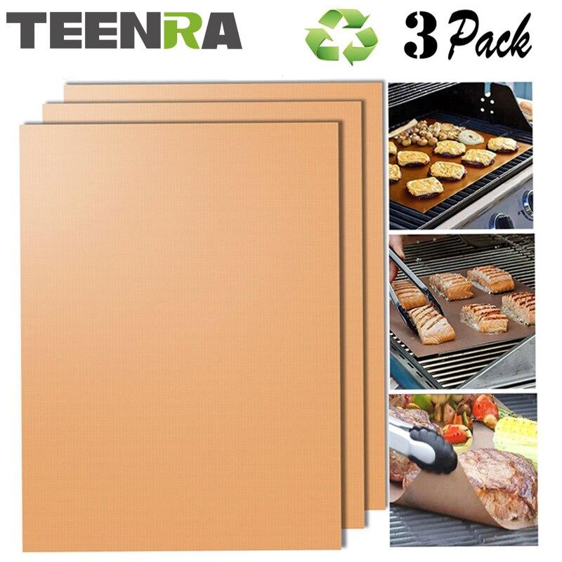 TEENRA 3 Pz Oro Riutilizzabile Teflon BBQ Mat Cottura Grill Mat resistenti Al Calore di Cottura Mat antiaderente BARBECUE fodera Teflon Teglia