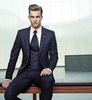 2017 последние пальто брюки Дизайн итальянский Темно синие мужской костюм Slim Fit 3 предмета смокинг на заказ Стиль Костюмы жениха Пром Блейзер