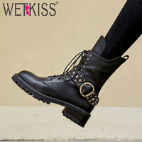 WETKISS Cow Leather Women Ankle Boots Zip Round Toe Rivet Footwear Motorcycle Lady Punk Boot Platform Army Shoes Woman Winter