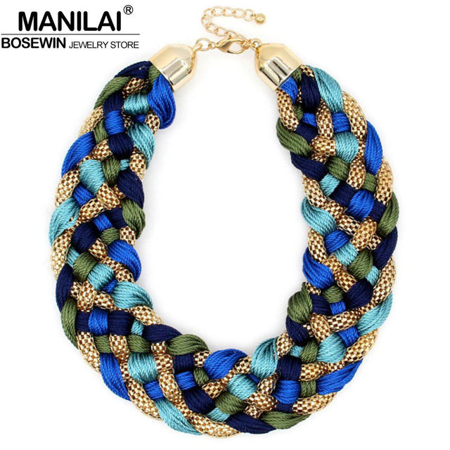 Manilai Fashion Weaved Handmade Necklace Chunky Chain Women Choker Wide Maxi Collar Statement Necklaces 2017