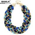 Manilai moda tecida handmade big colar chunky cadeia mulheres colares declaração collar choker maxi ampla 2016 grandes jóias