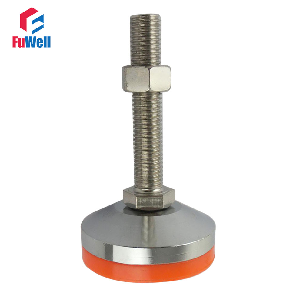 M12/M16/M18/M20 Thread Adjustable Foot Cup 60mm Diameter Chrome Plated 80/100/120/150mm Thread Length Articulated Leveling Foot