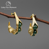 Lotus Fun Moment Real 925 Sterling Silver Handmade Fashion Jewelry Natural Green Stones Creative Pea Pods Design Dangle Earrings