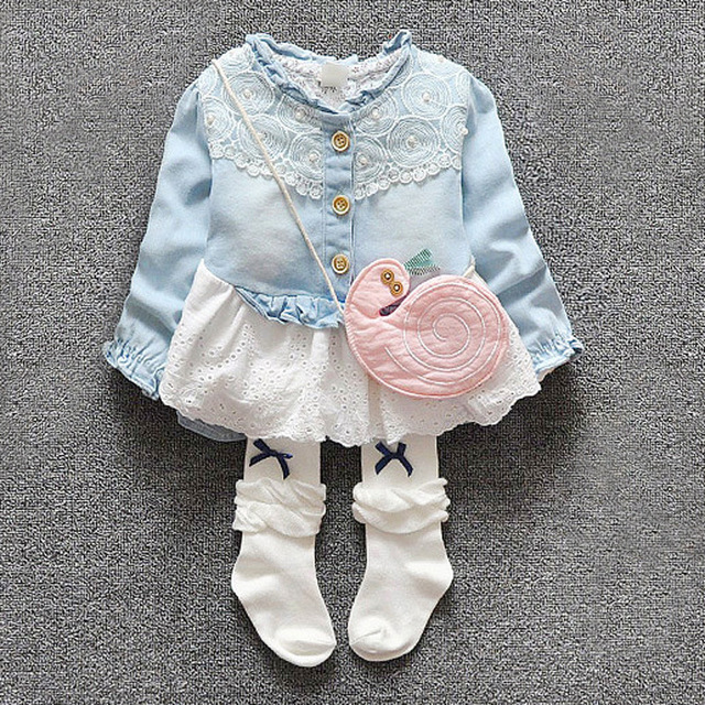 Новый 2016 весна осень младенцы девушки топы мода кружева лоскутное джинсовой блузка для одежды мило новорожденного девушки джинсовые рубашки