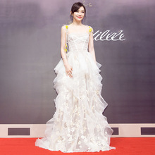 New 2019 embroidered dress with high waist and thin sexy sling party for wedding banquet