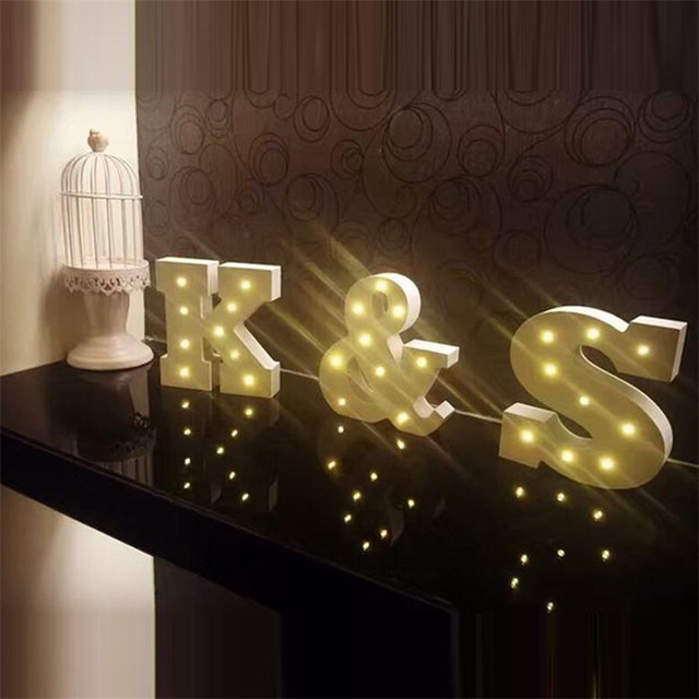 Wooden Letters Alphabet Led Lamp Sign Marquee Light Up Night Grow Wall Decoration For Bedroom Wedding Ornaments Lights